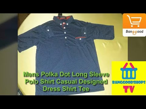 Mens Polka Dot Long Sleeve Polo Shirt Casual Designed Dress Shirt Tee