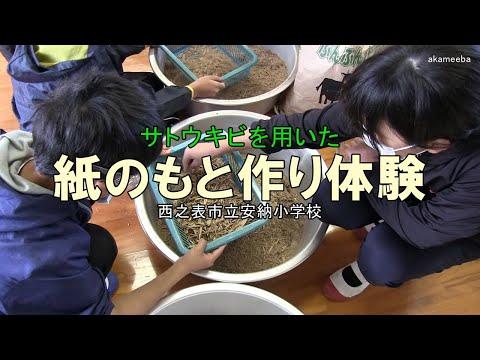 安納小学校サトウキビを用いた紙のもと作り体験令和2年〜種子島の学校活動