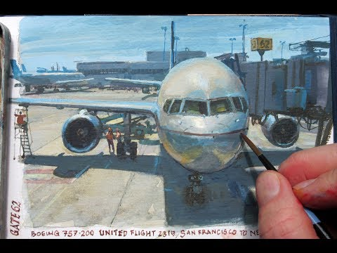 Painting an Airliner in Gouache—an hour before boarding