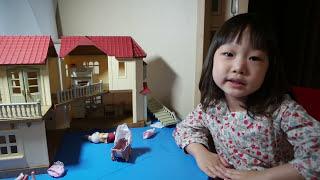 채은이의 실바니안 패밀리 불이 들어오는 이층집 놀이(캐리따라하기)