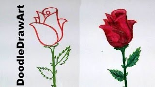 Drawing: How To Draw a Rose step by step - easy lesson for kids, beginners - cartoon rose