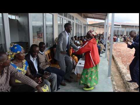 John Gasangwa dancing at the Kivu Hills Academy 1st phase dedication