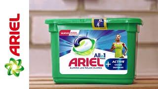 Ariel PODS Active - ¡Elimina los malos olores! anuncio