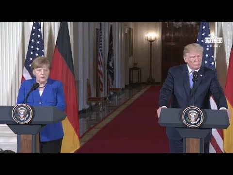 President Trump Hosts A Joint Press Conference With Chancellor Merkel Of Germany
