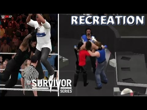 WWE 2K17 RECREATION: TEAM RAW VS TEAM SMACKDOWN | SURVIVOR SERIES 2016 HIGHLIGHTS