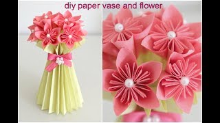 Paper flower vase viveos diy paper flower vase and flower easy diy paper craft mightylinksfo