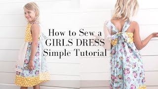 Easy Girls Dress Sewing Tutorial | Bow In The Back Summer Dress | KNOT DRESS FOR GIRLS
