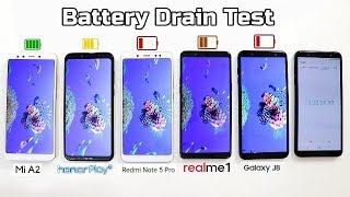 Mi A2 Vs Honor Play Vs Redmi Note 5 Pro Vs Realme 1 Vs Samsung J8 Battery Drain Comparison I Hindi
