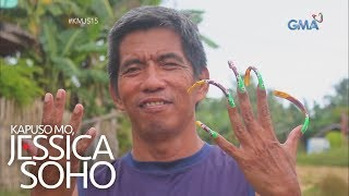 Aired (December 1, 2019): Ang mga kuko ng lalaking ito, umaabot ng hanggang limang pulgada ang haba... at may kulay pa! Eh paano naman kaya siya nakakapagtrabaho at nakakatulong sa mga gawaing bahay? Panoorin ang video! #KMJS15  'Kapuso Mo, Jessica Soho' is GMA Network's highest-rating magazine show. Hosted by the country's most awarded broadcast journalist Jessica Soho, it features stories on food, urban legends, trends, and pop culture. 'KMJS' airs every Sunday, 8:40 PM on GMA Network.  Subscribe to youtube.com/gmapublicaffairs for our full episodes.  GMA promotes healthy debate and conversation online.  Any abusive language that does not facilitate productive discourse will be blocked from this post.      GMA upholds ethical standards of fairness, objectivity, accuracy, transparency, balance, and independence.   Walang Kinikilingan, Walang Pinoprotektahan, Serbisyong totoo lamang.   Subscribe to the GMA Public Affairs channel: https://www.youtube.com/user/gmapublicaffairs  Visit the GMA News and Public Affairs Portal: http://www.gmanews.tv  Connect with us on: Facebook: http://www.facebook.com/gmapublicaffairs/ Twitter: http://www.twitter.com/gma_pa