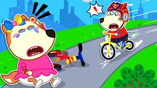 Wolf Family🌞 Lucy, Wear Your Helmet to Ride a Bike Safety - Wolfoo Learns Safety Tips for Kids