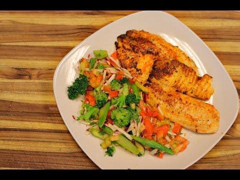 Cajun Tilapia and Vegetable Salad – low carb fish recipes – keto diet – how to fry tilapia – ketones