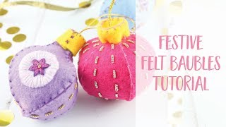 Festive Felt Christmas Tree Baubles How To DIY Tutorial | Craftiosity | Craft Kit Subscription Box