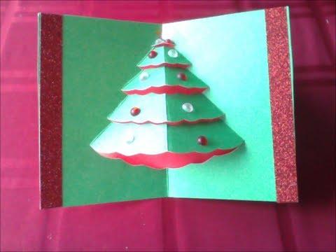 Εύκολη τρισδιάστατη χριστουγεννιάτικη κάρτα με χριστουγεννιάτικο δέντρο