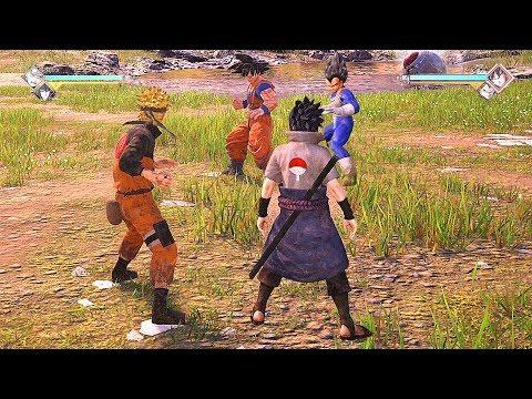 JUMP FORCE - Naruto & Sasuke vs Goku & Vegeta (Naruto vs Dragon Ball Z)