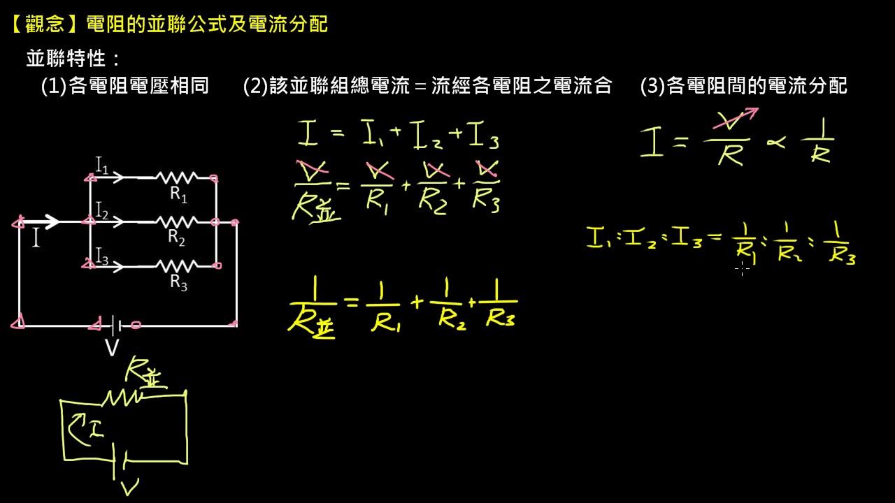 【觀念】電阻的並聯公式及電流分配 | 【高三物理】電路學 | 均一教育平臺