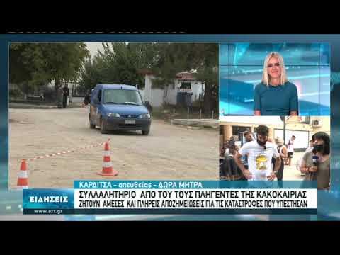 """Συλλαλητήριο για τις αποζημιώσεις του """"Ιανού"""" στην Καρδίτσα   5/10/2020   ΕΡΤ"""