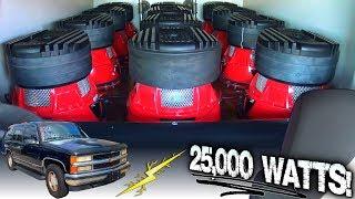 INSANE Subwoofer Demo w/ 25,000 WATT Sound System & CRAZY LOUD Car Audio BASS Install... 12 12s!!!