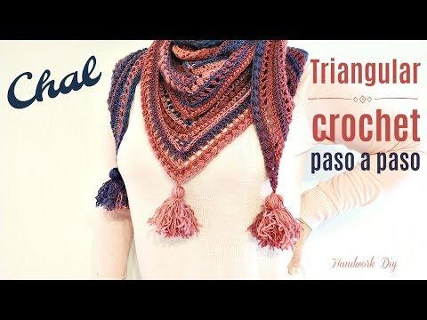 TEJE CHAL TRIANGUGAR CON PUNTO ABALORIO / HANDWORK DIY