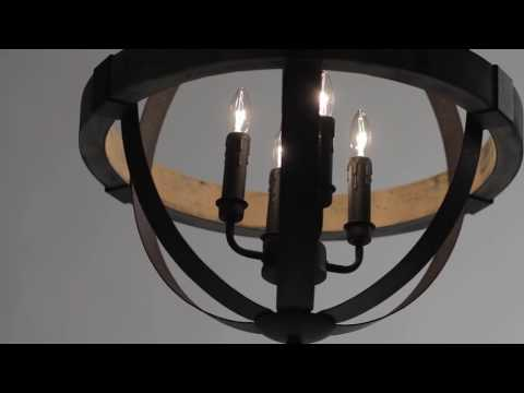Video for Castello Black and Aspen Wood Six-Light 26.5-Inch Wide Chandelier