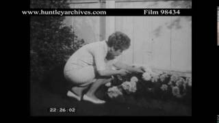 A woman whistles as she gardens.  Archive film 98434