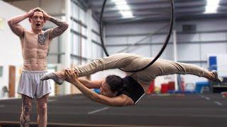 Gymnast tries Aerial Hoop Acrobatics {Cirque Du Soleil}