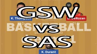 GSW VS SAS VS GSW,gsw vs sas,dream11 team,NBA  BASKETBALL,19.11.18