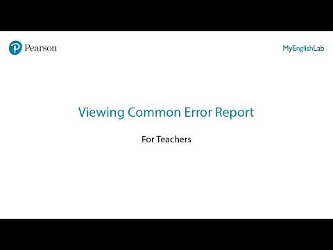 Viewing Common Error Report