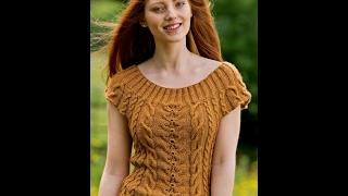Вяжем Кофту с Коротким Рукавом Спицами 2017 / Knit sweater with short sleeves Spokes /Strickpullover