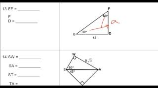 Unit 7 Review Part 3 Special Right Triangles