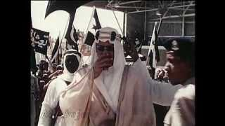 الملك سعود يستقبل جمال عبدالناصر وشكري القوتلي في الظهران 1956م