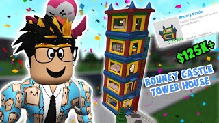 i built a bloxburg house but in the NEW BOUNCY CASTLE... I made a tower oops