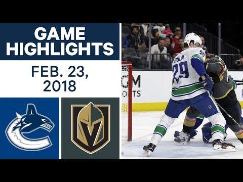 NHL Game Highlights | Canucks vs. Golden Knights - Feb. 22, 2018