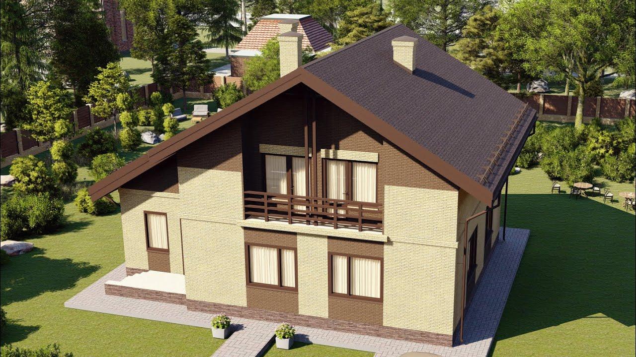 Проект мансардного дома из газобетона с верандой и балконом