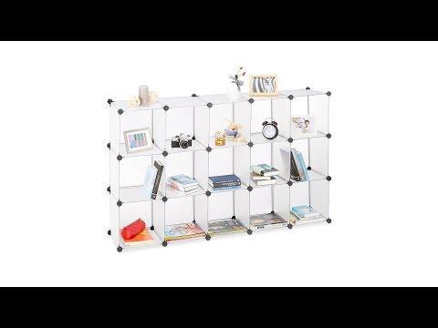 Steckregal aus Kunststoff mit 15 Fächern in transparent