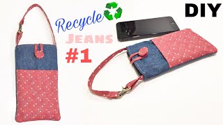 DIY Phone Bag Sewing Tutorial | Making A Pouch Out Of Jean | Old Jeans Recycle Idea