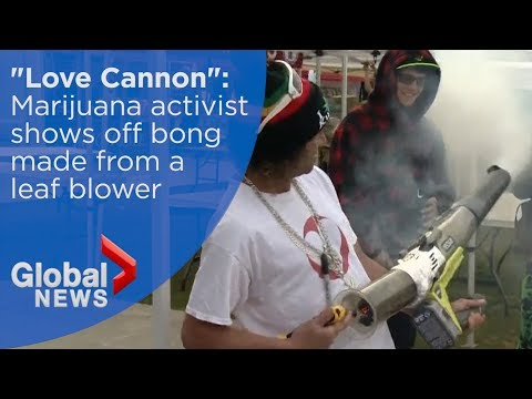Marijuana activist shows off bong made from a leaf blower at 4/20 rally