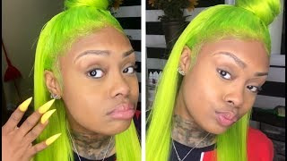 LIME GREEN Lace Wig on Herr! (GalaxiGirlHair.com)