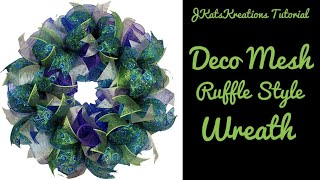 Deco Mesh Ruffle Wreath Tutorial/Mesh Wreath With Ribbon/Beginner Wreath