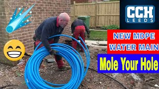 MDPE WATER MAINS INSTALLATION - No Digging - Moling - Trenchless Pipe Replacement