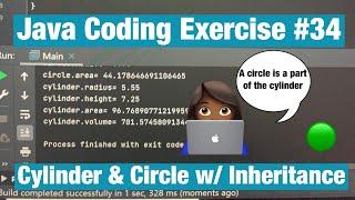 Cylinder Program  (Quick & Easy OOP, SOLVED, Math.PI Constant)[#34]- Java Coding Exercise Problem