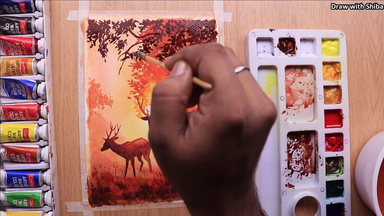 beautiful forest watercolor painting for beginners by draw with shiba