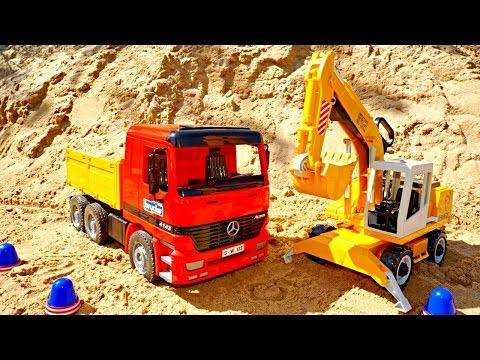 Video per bambini- L´escavatore e il camion al lavoro- Giocattoli per bambini