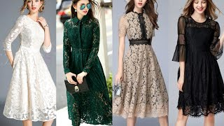 Impressive Aline Midi Lace Dresses For Evening Wear //Lace Fabric Outfit For Formal Wear