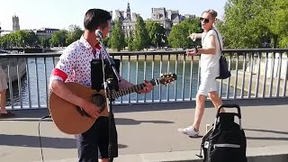 A busker sings Queen, when suddenly a passerby begins to dance   Roman Roses
