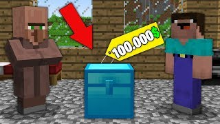 Minecraft NOOB vs PRO : NOOB BOUGHT SUPER DIAMOND CHEST FOR 100.000$! Challenge 100% trolling