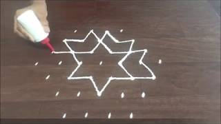 7 x 4 Interlaced dot rangoli design with colour || simple and easy dot rangoli with colour