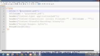 Display pdf file using php