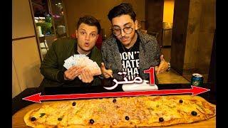 إذا يكل هذي البيتزا بطول متر له 1000 ريال | تحدي البيتزا