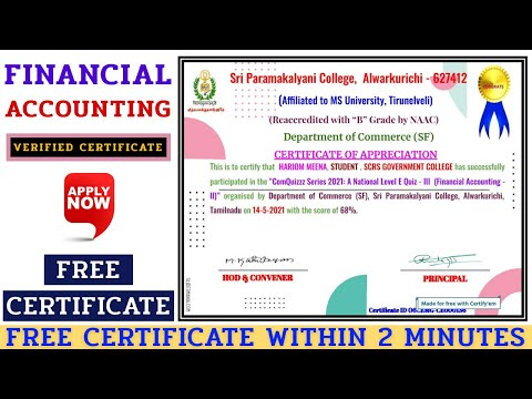 Free Online Certification Course || Financial Accounting || Certificate ...