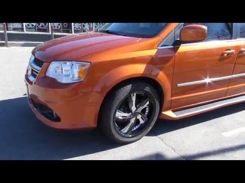 2014 DODGE GRAND CARAVAN ORANGE ON 20 INCH CUSTOM BLACK & CHROME RIMS